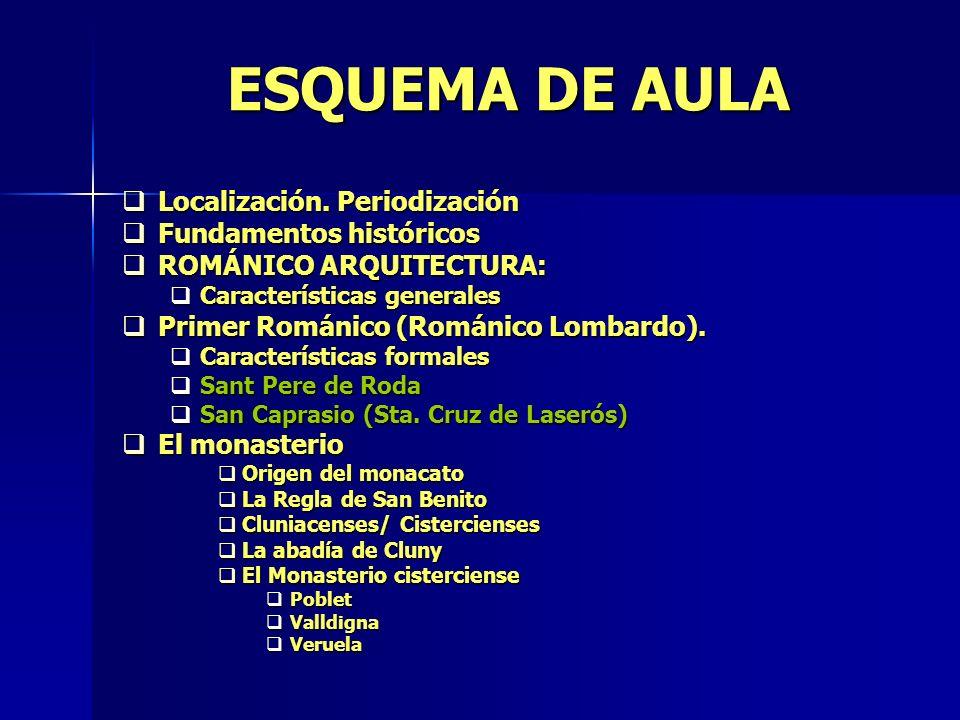 ESQUEMA DE AULA Localización. Periodización Localización. Periodización Fundamentos históricos Fundamentos históricos ROMÁNICO ARQUITECTURA: ROMÁNICO