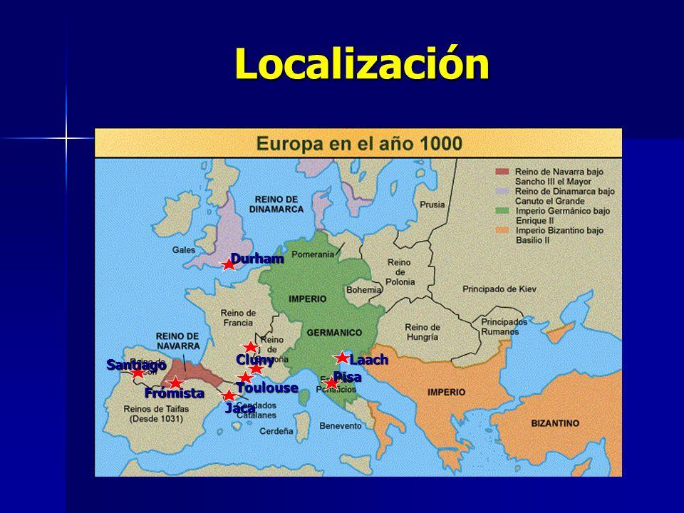 Localización Jaca Frómista Santiago Toulouse Cluny Pisa Durham Laach