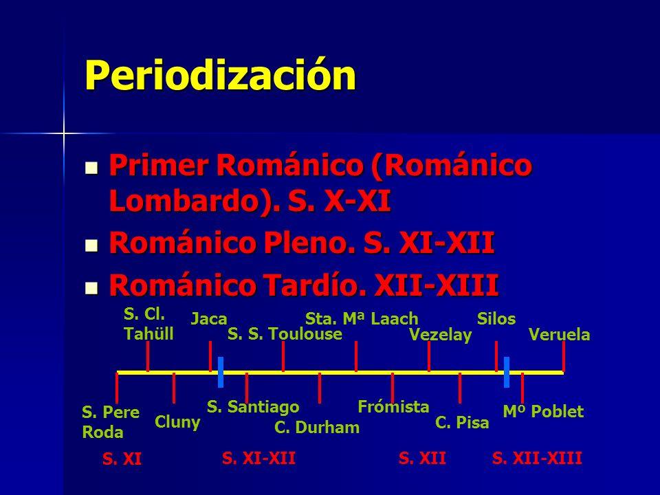 Periodización Primer Románico (Románico Lombardo). S. X-XI Primer Románico (Románico Lombardo). S. X-XI Románico Pleno. S. XI-XII Románico Pleno. S. X
