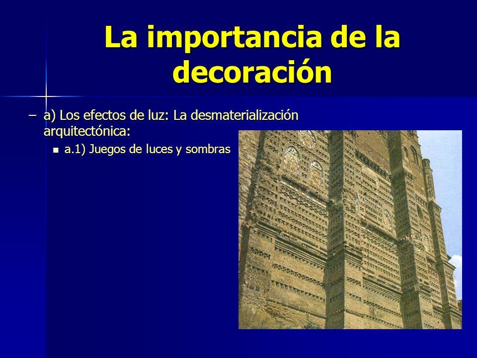 La importancia de la decoración –a) Los efectos de luz: La desmaterialización arquitectónica: a.1) Juegos de luces y sombras a.1) Juegos de luces y so