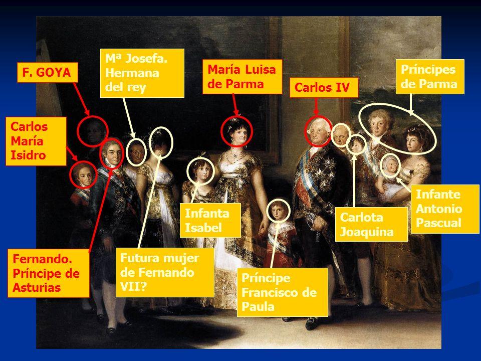 F. GOYA Carlos María Isidro Fernando. Príncipe de Asturias Mª Josefa. Hermana del rey María Luisa de Parma Carlos IV Infante Antonio Pascual Príncipes