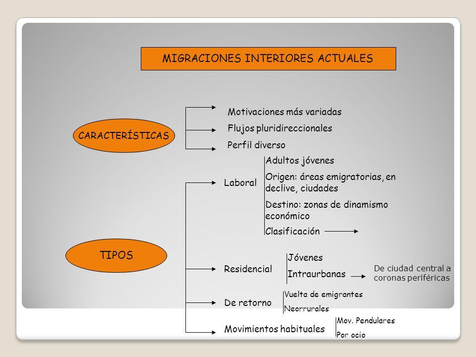 MIGRACIONES INTERIORES ACTUALES CARACTERÍSTICAS TIPOS Motivaciones más variadas Flujos pluridireccionales Perfil diverso Laboral Residencial De retorn