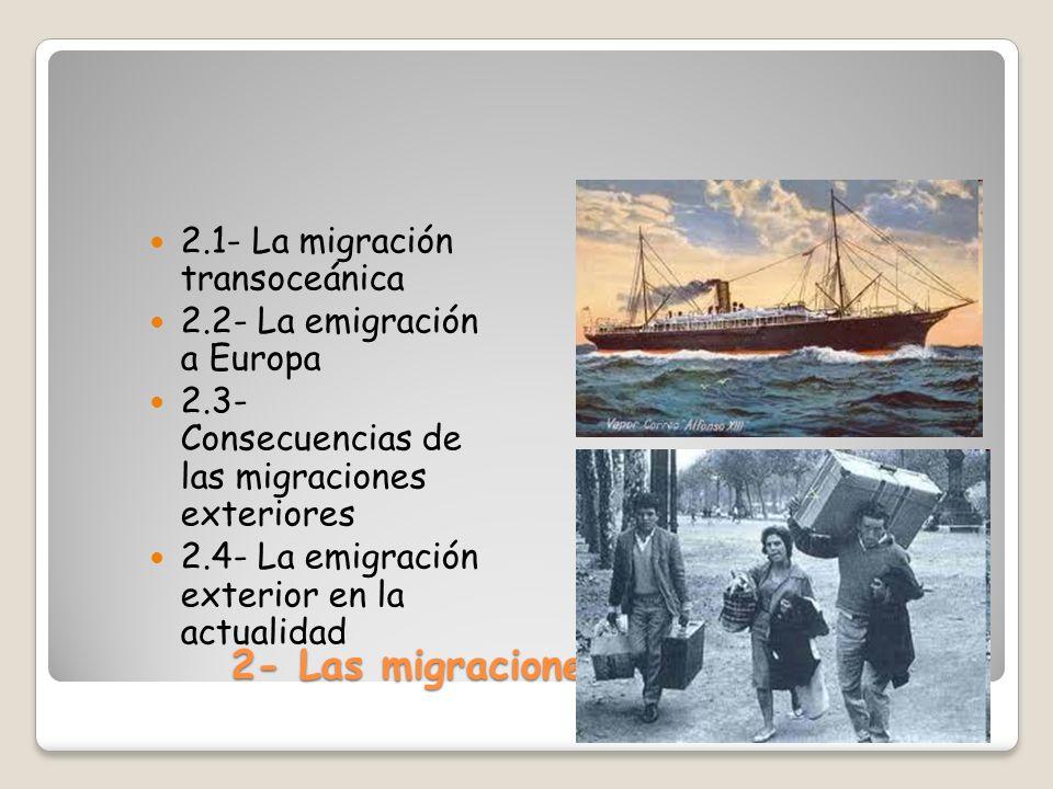 2- Las migraciones exteriores 2.1- La migración transoceánica 2.2- La emigración a Europa 2.3- Consecuencias de las migraciones exteriores 2.4- La emi