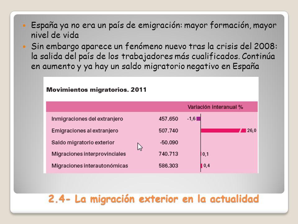 2.4- La migración exterior en la actualidad España ya no era un país de emigración: mayor formación, mayor nivel de vida Sin embargo aparece un fenóme