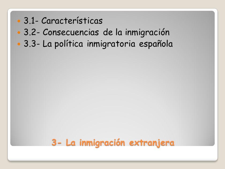 3- La inmigración extranjera 3.1- Características 3.2- Consecuencias de la inmigración 3.3- La política inmigratoria española