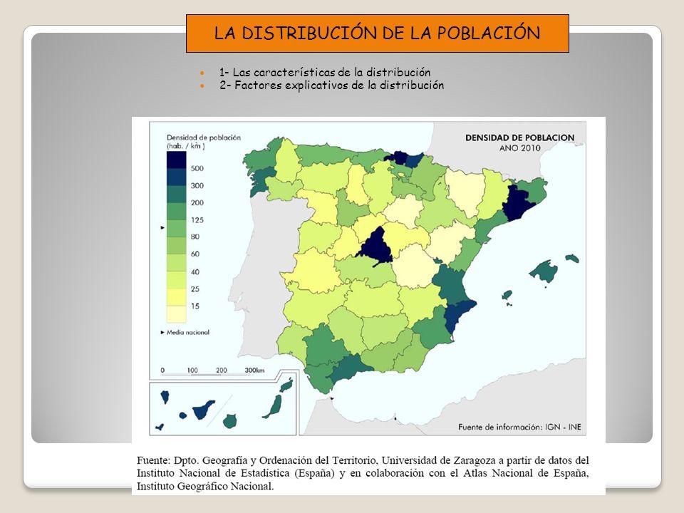 1- Las características de la distribución 2- Factores explicativos de la distribución LA DISTRIBUCIÓN DE LA POBLACIÓN