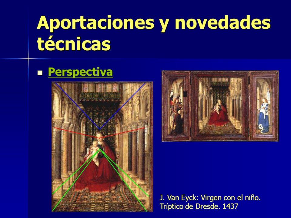 Aportaciones y novedades técnicas Perspectiva Perspectiva J. Van Eyck: Virgen con el niño. Tríptico de Dresde. 1437