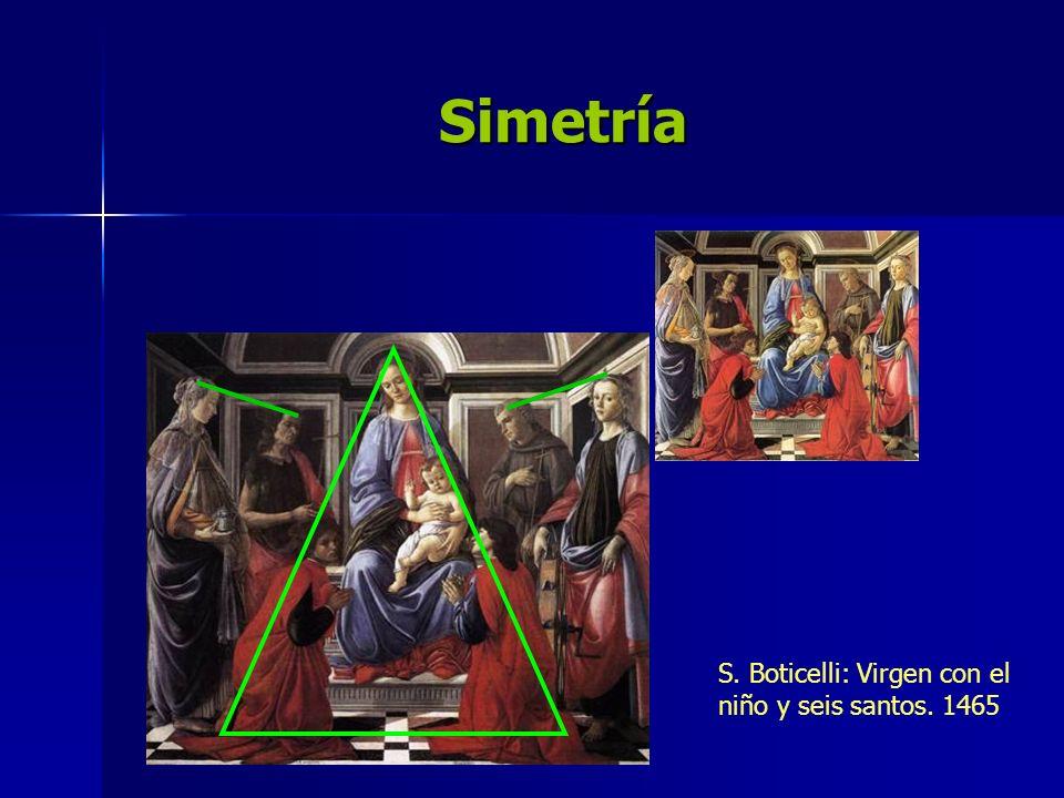 Simetría S. Boticelli: Virgen con el niño y seis santos. 1465
