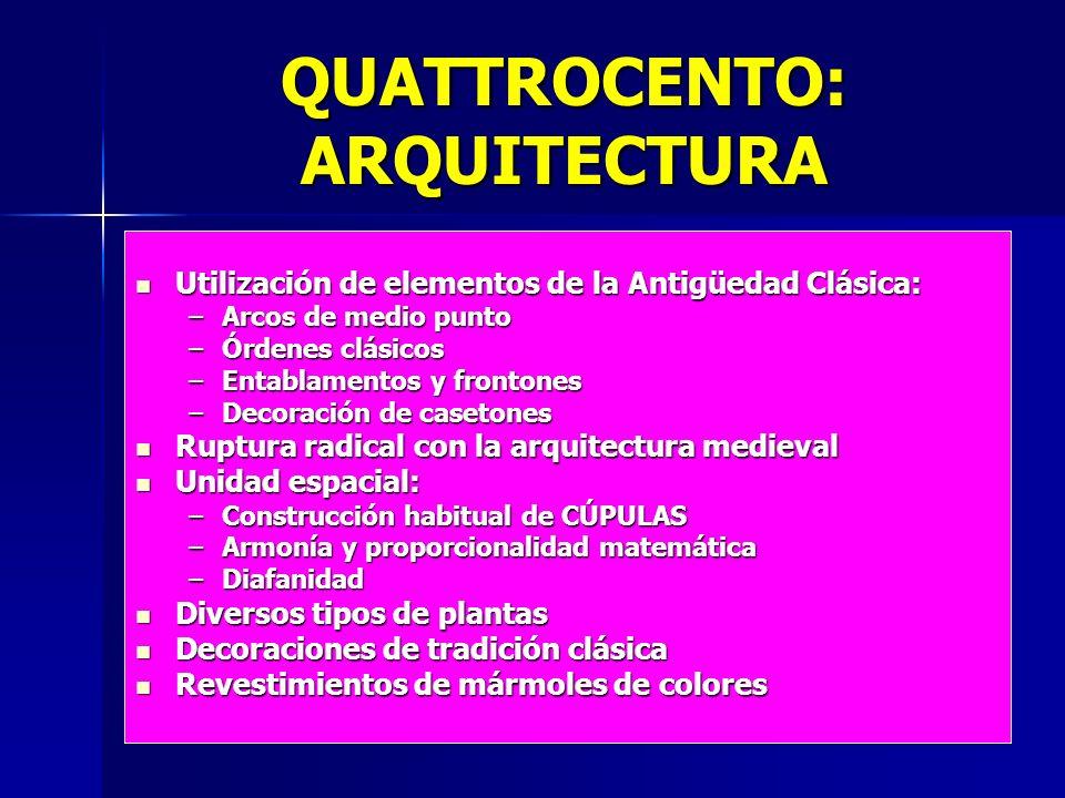 QUATTROCENTO: ARQUITECTURA Utilización de elementos de la Antigüedad Clásica: Utilización de elementos de la Antigüedad Clásica: –Arcos de medio punto