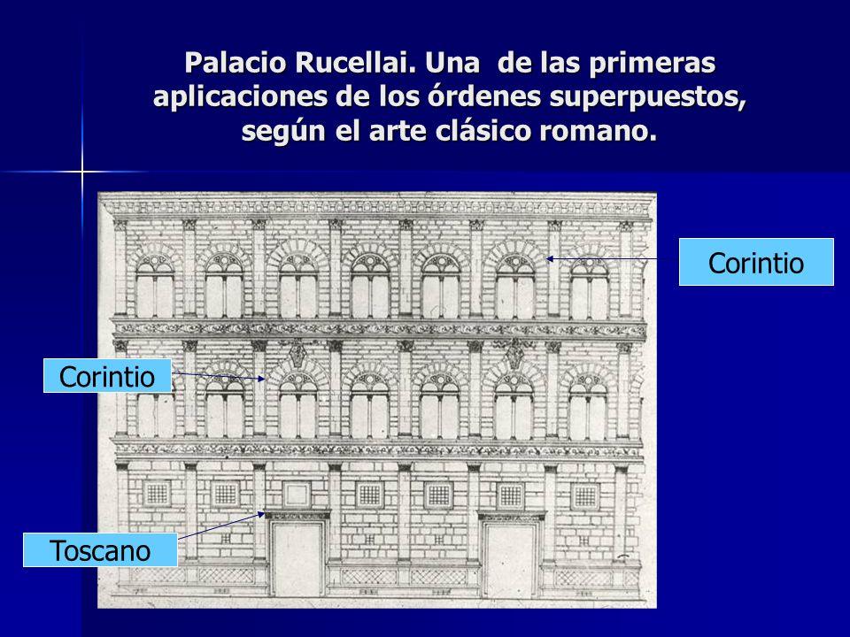 Palacio Rucellai. Una de las primeras aplicaciones de los órdenes superpuestos, según el arte clásico romano. Toscano Corintio