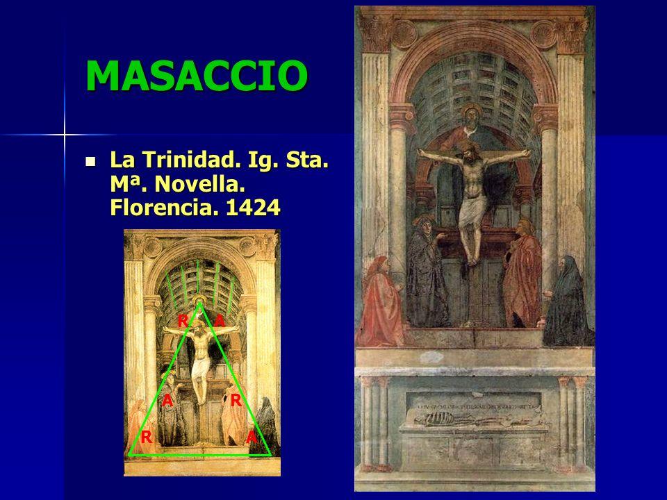 MASACCIO La Trinidad. Ig. Sta. Mª. Novella. Florencia. 1424 La Trinidad. Ig. Sta. Mª. Novella. Florencia. 1424 R R R A A A