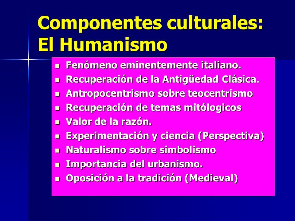 Componentes culturales: El Humanismo Fenómeno eminentemente italiano. Fenómeno eminentemente italiano. Recuperación de la Antigüedad Clásica. Recupera