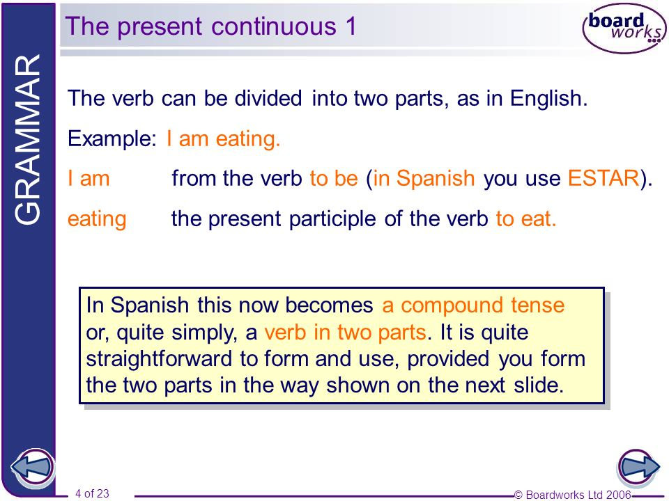 © Boardworks Ltd 2006 4 of 23 GRAMMAR In Spanish this now becomes a compound tense or, quite simply, a verb in two parts. It is quite straightforward
