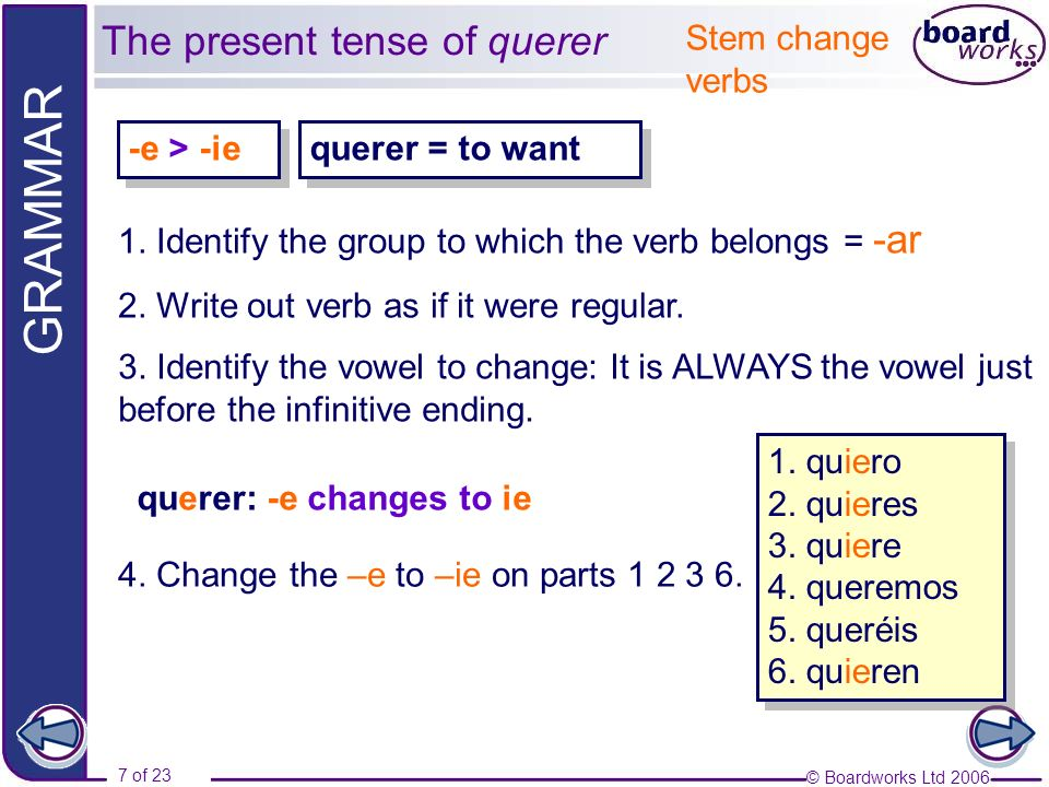 © Boardworks Ltd 2006 7 of 23 GRAMMAR querer = to want querer: -e changes to ie Stem change verbs -e > -ie 4.