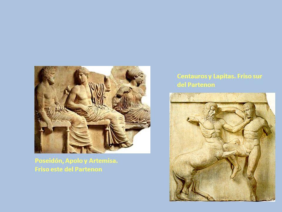 Poseidón, Apolo y Artemisa. Friso este del Partenon Centauros y Lapitas. Friso sur del Partenon