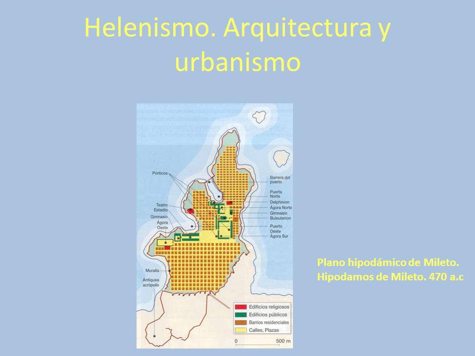 Helenismo. Arquitectura y urbanismo Plano hipodámico de Mileto. Hipodamos de Mileto. 470 a.c