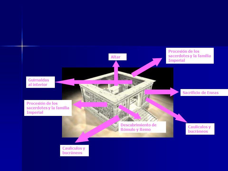 Sacrificio de Eneas Procesión de los sacerdotes y la familia Imperial Descubrimiento de Rómulo y Remo Procesión de los sacerdotes y la familia Imperia