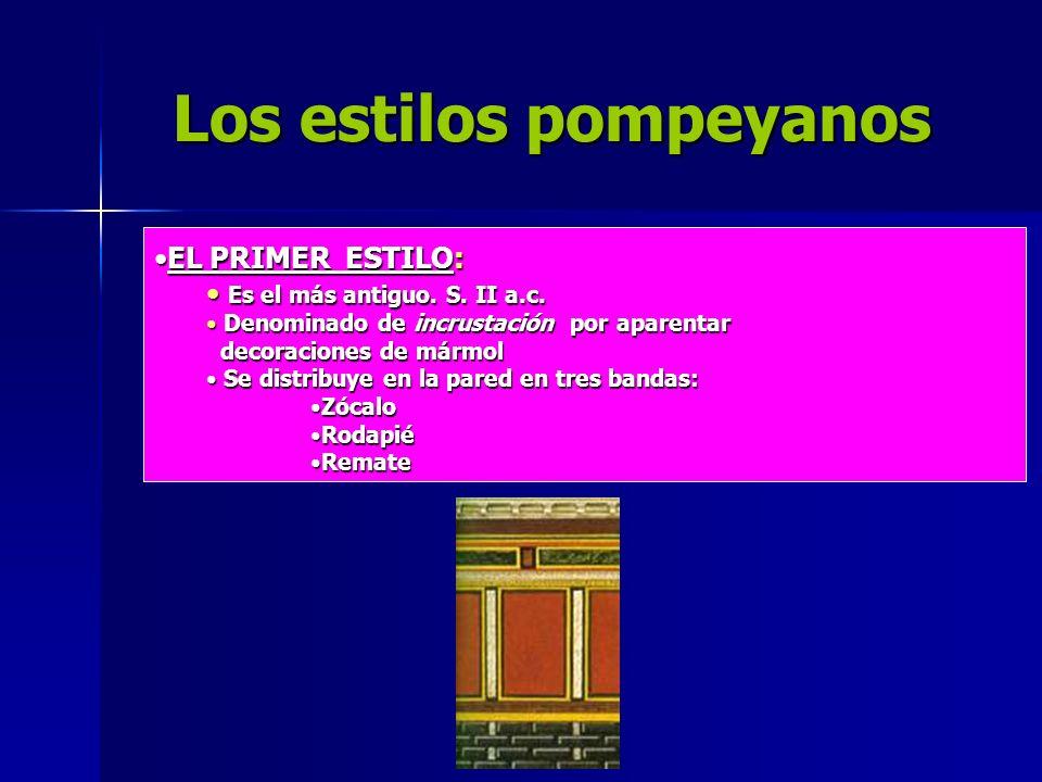 Los estilos pompeyanos EL PRIMER ESTILO:EL PRIMER ESTILO: Es el más antiguo. S. II a.c. Es el más antiguo. S. II a.c. Denominado de incrustación por a