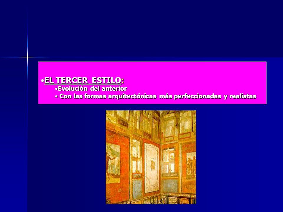 EL TERCER ESTILO:EL TERCER ESTILO: Evolución del anteriorEvolución del anterior Con las formas arquitectónicas más perfeccionadas y realistas Con las