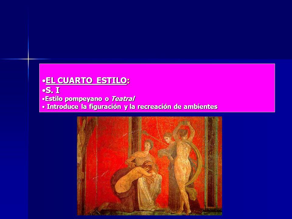 EL CUARTO ESTILO:EL CUARTO ESTILO: S. IS. I Estilo pompeyano o TeatralEstilo pompeyano o Teatral Introduce la figuración y la recreación de ambientes