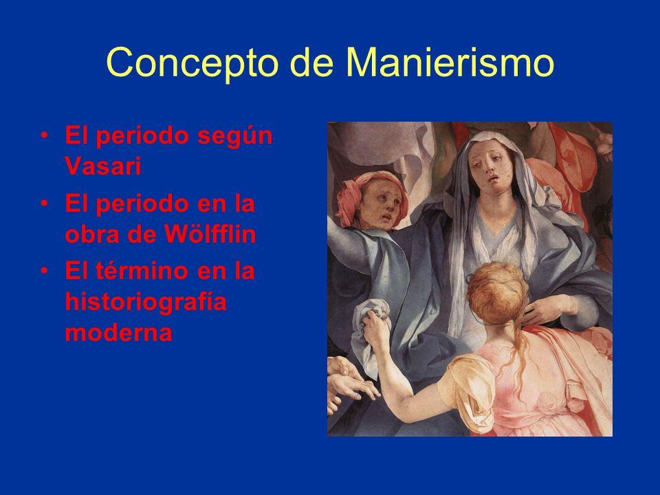 Concepto de Manierismo El periodo según Vasari El periodo en la obra de Wölfflin El término en la historiografía moderna