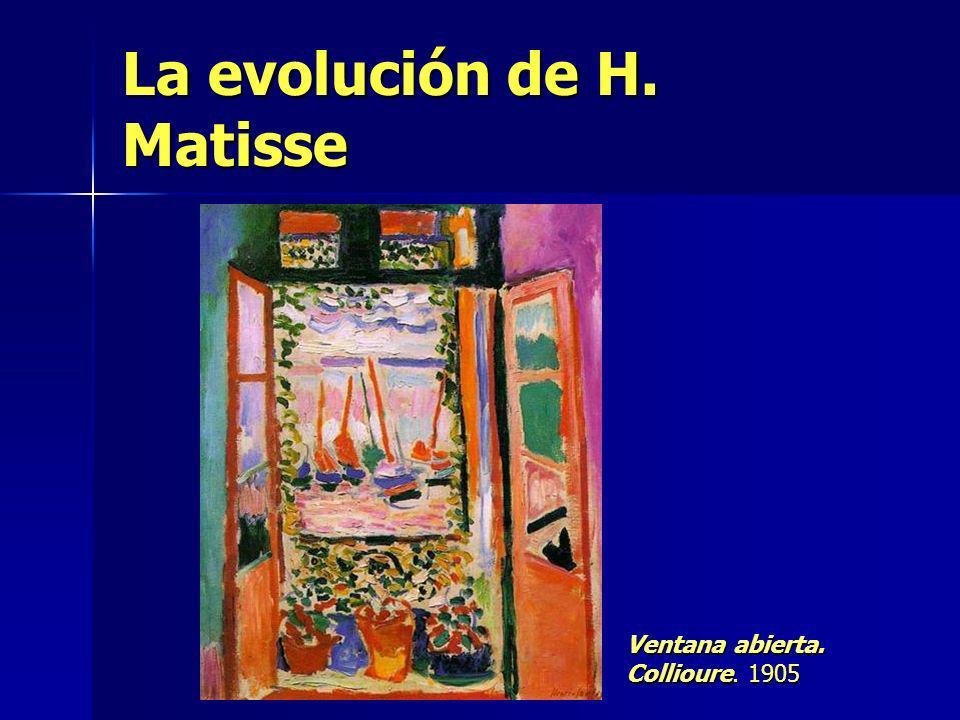 La evolución de H. Matisse Ventana abierta. Collioure. 1905