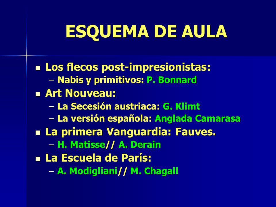 ESQUEMA DE AULA Los flecos post-impresionistas: Los flecos post-impresionistas: –Nabis y primitivos: P. Bonnard Art Nouveau: Art Nouveau: –La Secesión