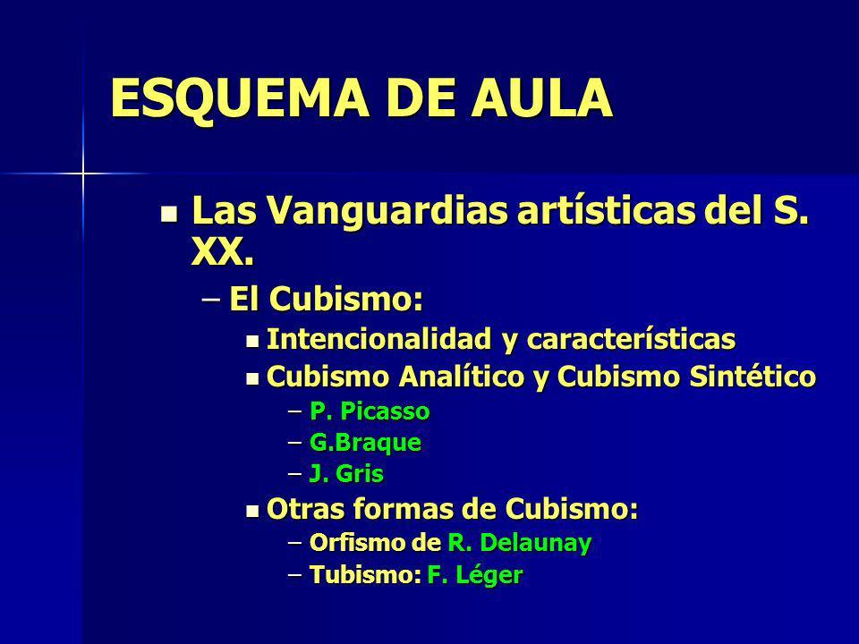 ESQUEMA DE AULA Las Vanguardias artísticas del S. XX. Las Vanguardias artísticas del S. XX. –El Cubismo: Intencionalidad y características Intencional
