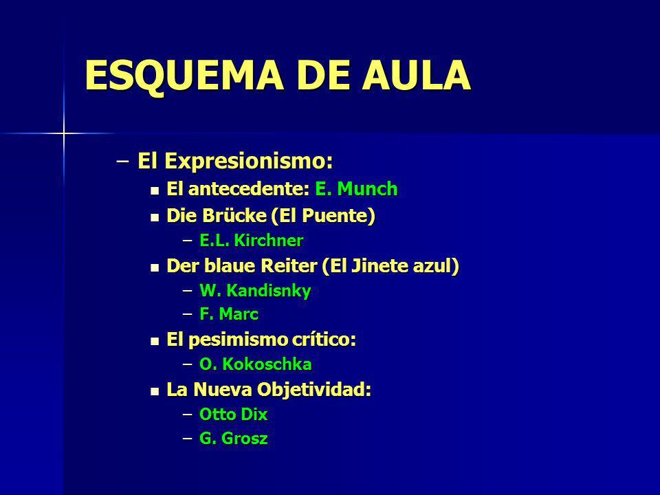 ESQUEMA DE AULA –El Expresionismo: El antecedente: E. Munch El antecedente: E. Munch Die Brücke (El Puente) Die Brücke (El Puente) –E.L. Kirchner Der