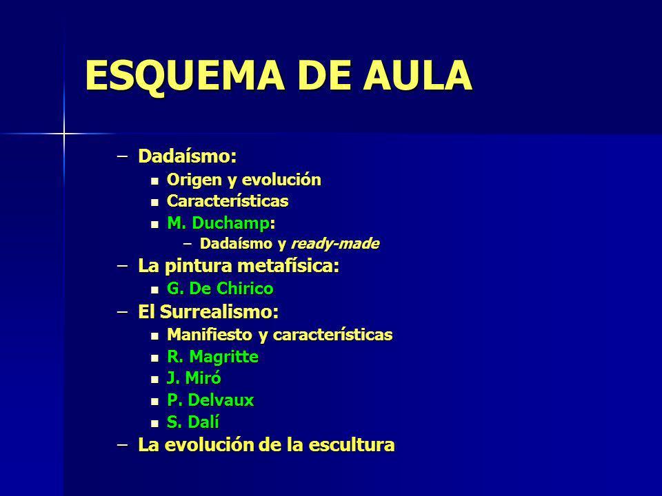 ESQUEMA DE AULA –Dadaísmo: Origen y evolución Origen y evolución Características Características M. Duchamp: M. Duchamp: –Dadaísmo y ready-made –La pi