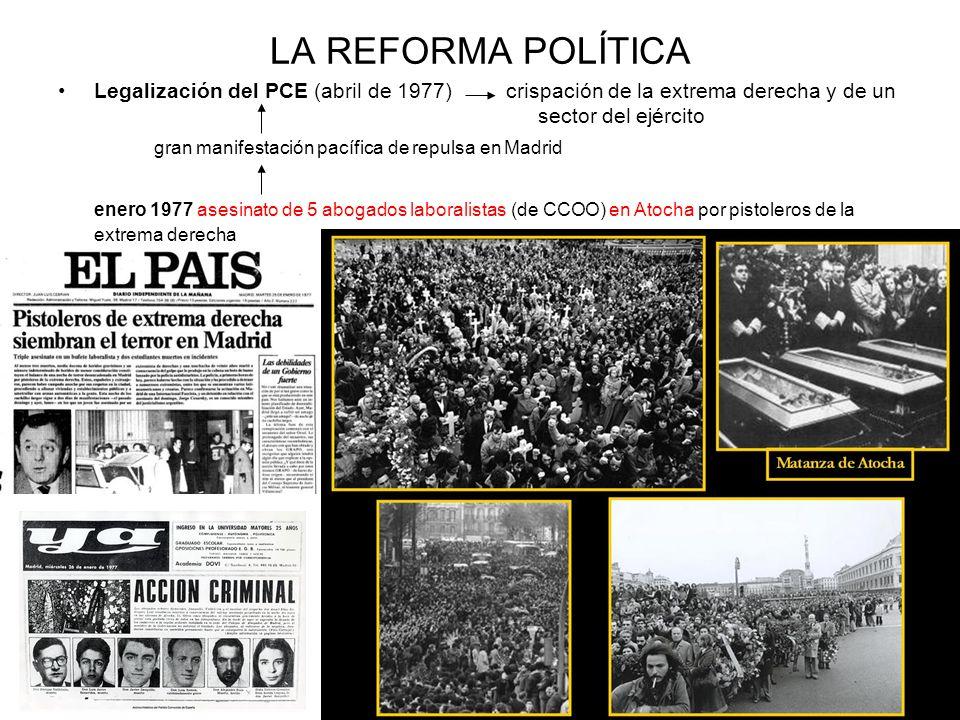 LA REFORMA POLÍTICA Legalización del PCE (abril de 1977) crispación de la extrema derecha y de un sector del ejército gran manifestación pacífica de r