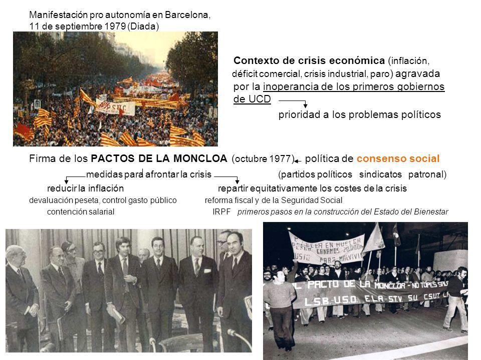Manifestación pro autonomía en Barcelona, 11 de septiembre 1979 (Diada) Contexto de crisis económica ( inflación, déficit comercial, crisis industrial