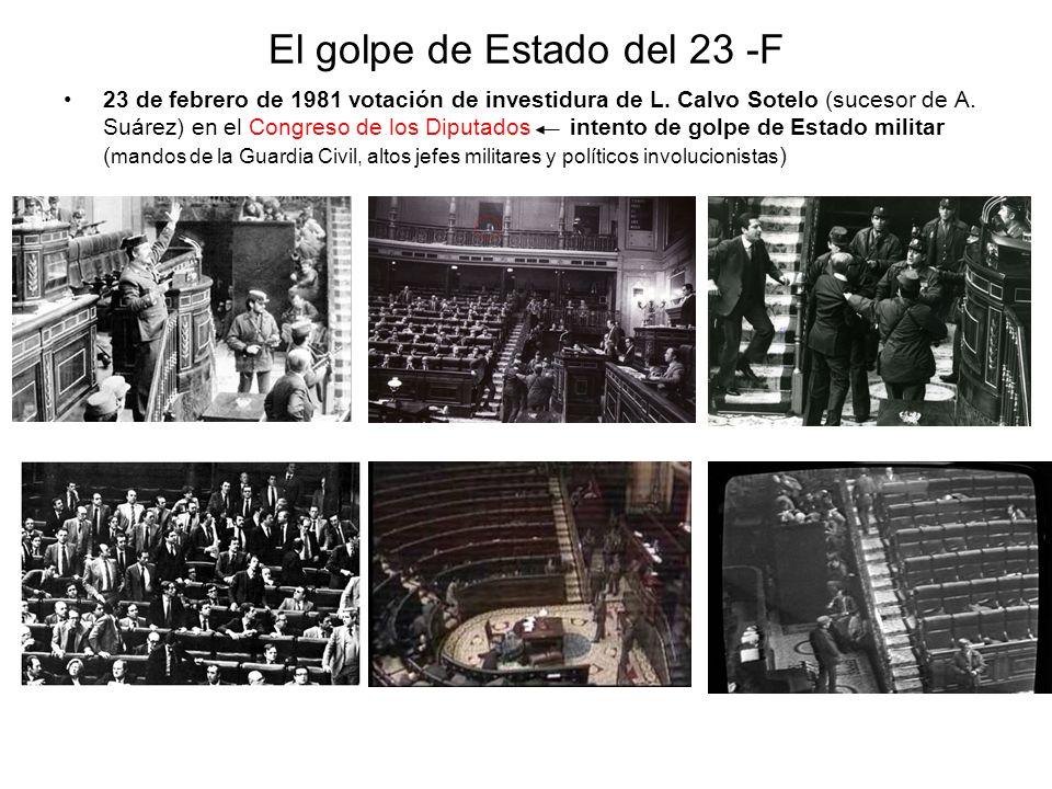 El golpe de Estado del 23 -F 23 de febrero de 1981 votación de investidura de L. Calvo Sotelo (sucesor de A. Suárez) en el Congreso de los Diputados i