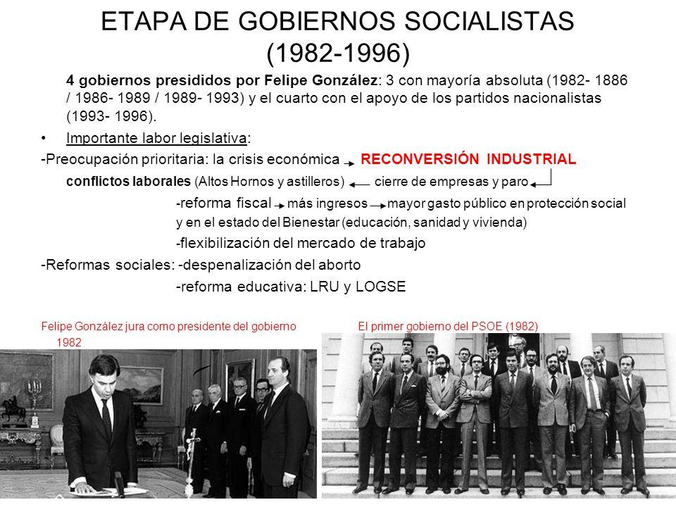 ETAPA DE GOBIERNOS SOCIALISTAS (1982-1996) 4 gobiernos presididos por Felipe González: 3 con mayoría absoluta (1982- 1886 / 1986- 1989 / 1989- 1993) y