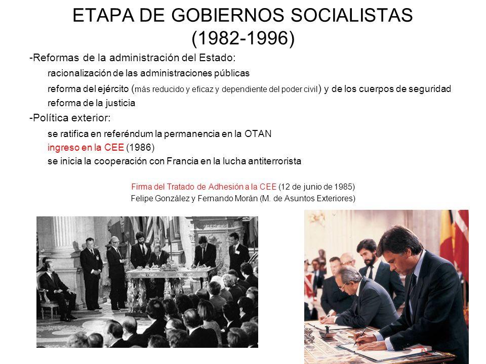 ETAPA DE GOBIERNOS SOCIALISTAS (1982-1996) -Reformas de la administración del Estado: racionalización de las administraciones públicas reforma del ejé