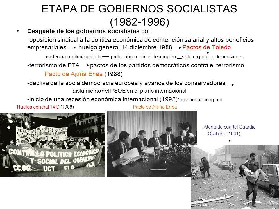 ETAPA DE GOBIERNOS SOCIALISTAS (1982-1996) Desgaste de los gobiernos socialistas por: -oposición sindical a la política económica de contención salari