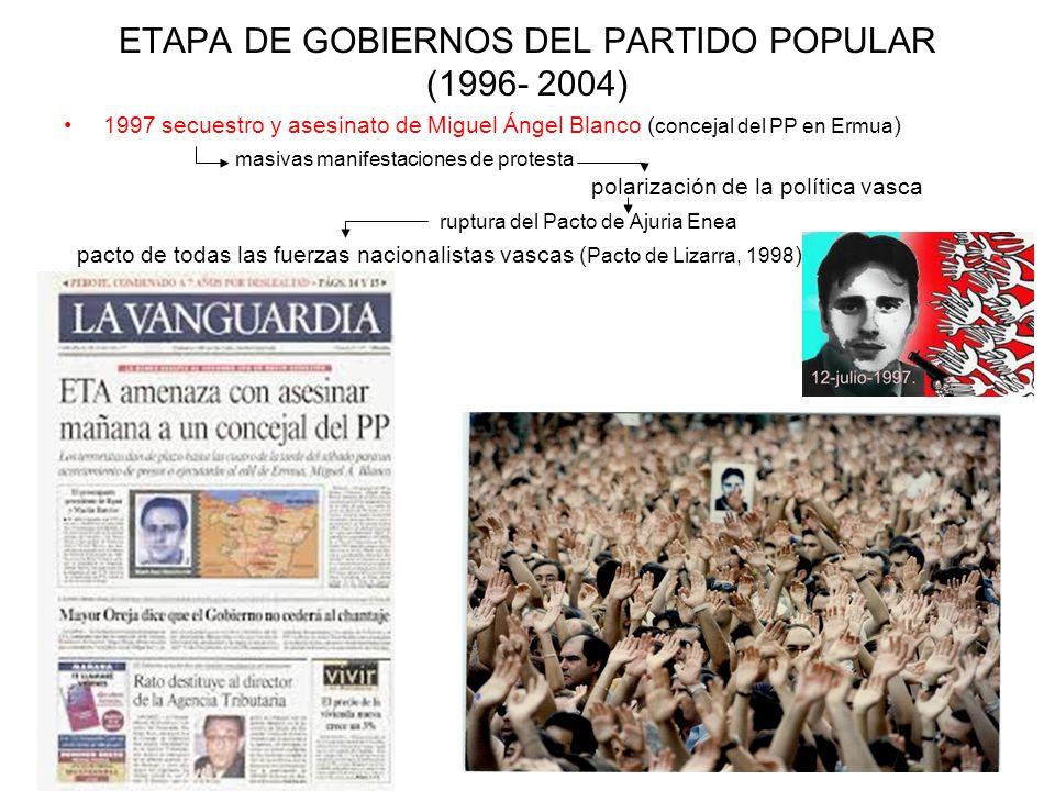 ETAPA DE GOBIERNOS DEL PARTIDO POPULAR (1996- 2004) 1997 secuestro y asesinato de Miguel Ángel Blanco ( concejal del PP en Ermua ) masivas manifestaci