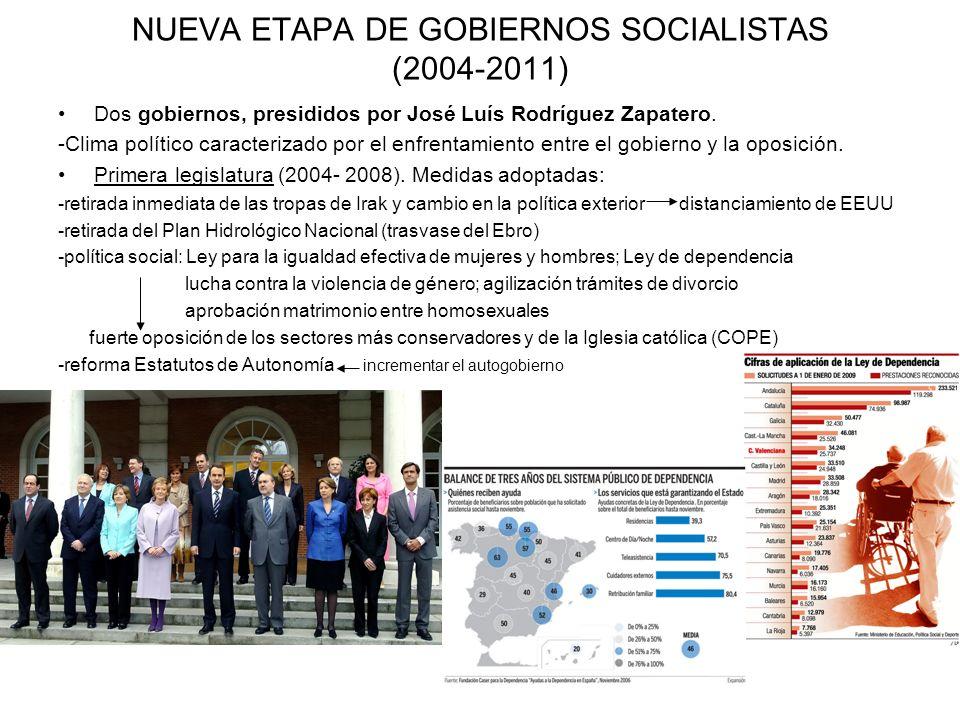NUEVA ETAPA DE GOBIERNOS SOCIALISTAS (2004-2011) Dos gobiernos, presididos por José Luís Rodríguez Zapatero. -Clima político caracterizado por el enfr