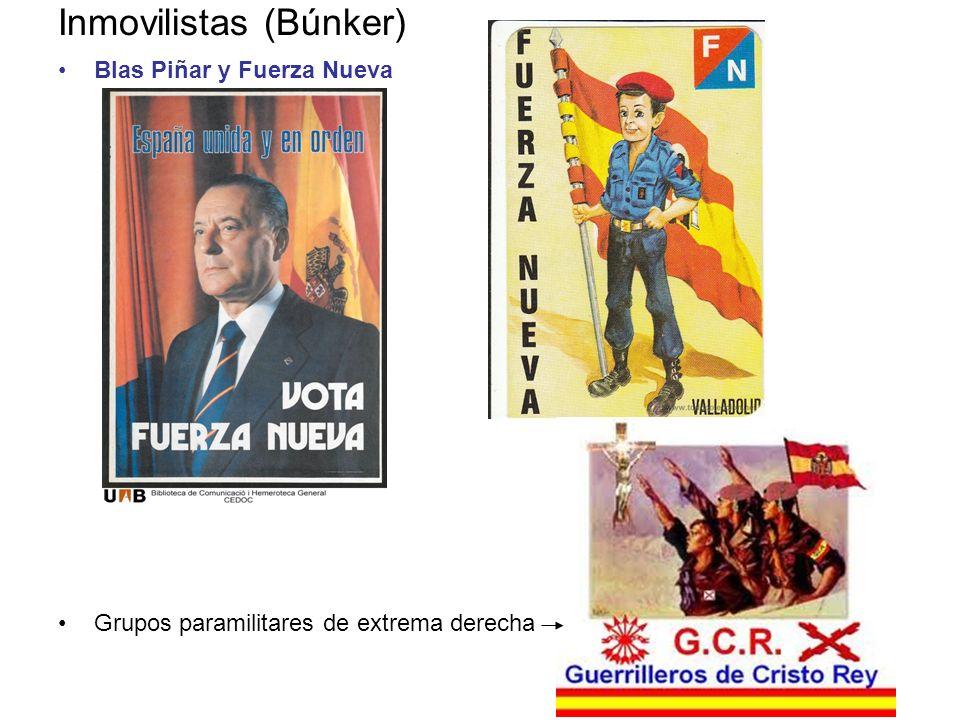 Inmovilistas (Búnker) Blas Piñar y Fuerza Nueva Grupos paramilitares de extrema derecha