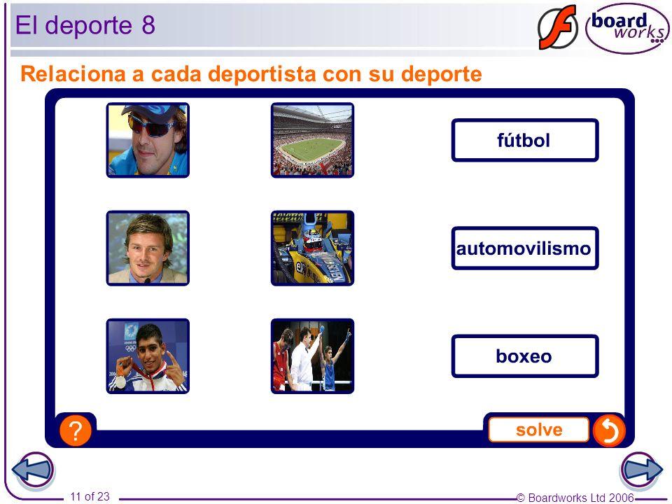 © Boardworks Ltd 2006 11 of 23 El deporte 8 Relaciona a cada deportista con su deporte