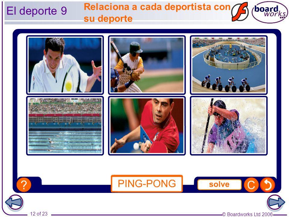 © Boardworks Ltd 2006 12 of 23 El deporte 9 Relaciona a cada deportista con su deporte