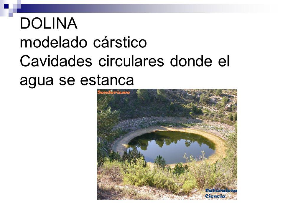 DOLINA modelado cárstico Cavidades circulares donde el agua se estanca