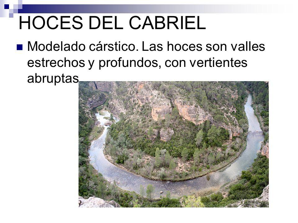 HOCES DEL CABRIEL Modelado cárstico. Las hoces son valles estrechos y profundos, con vertientes abruptas
