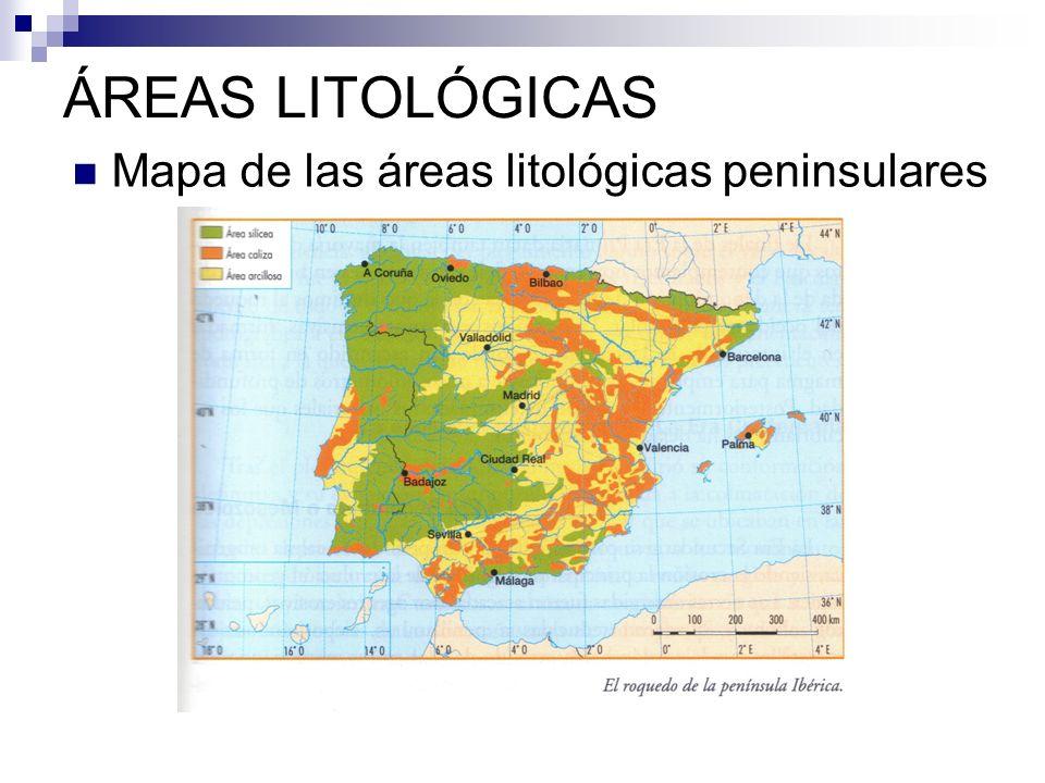 MODELADO GRANÍTICO ÁREA SILÍCEA en la parte oeste peninsular Rocas más antiguas, metamórficas.
