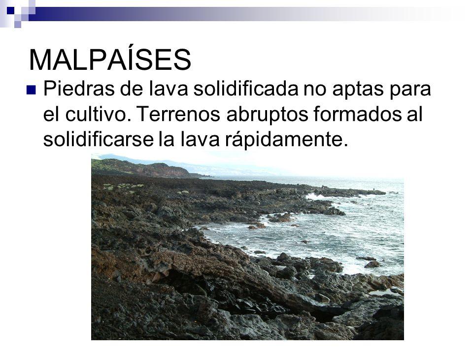 MALPAÍSES Piedras de lava solidificada no aptas para el cultivo. Terrenos abruptos formados al solidificarse la lava rápidamente.