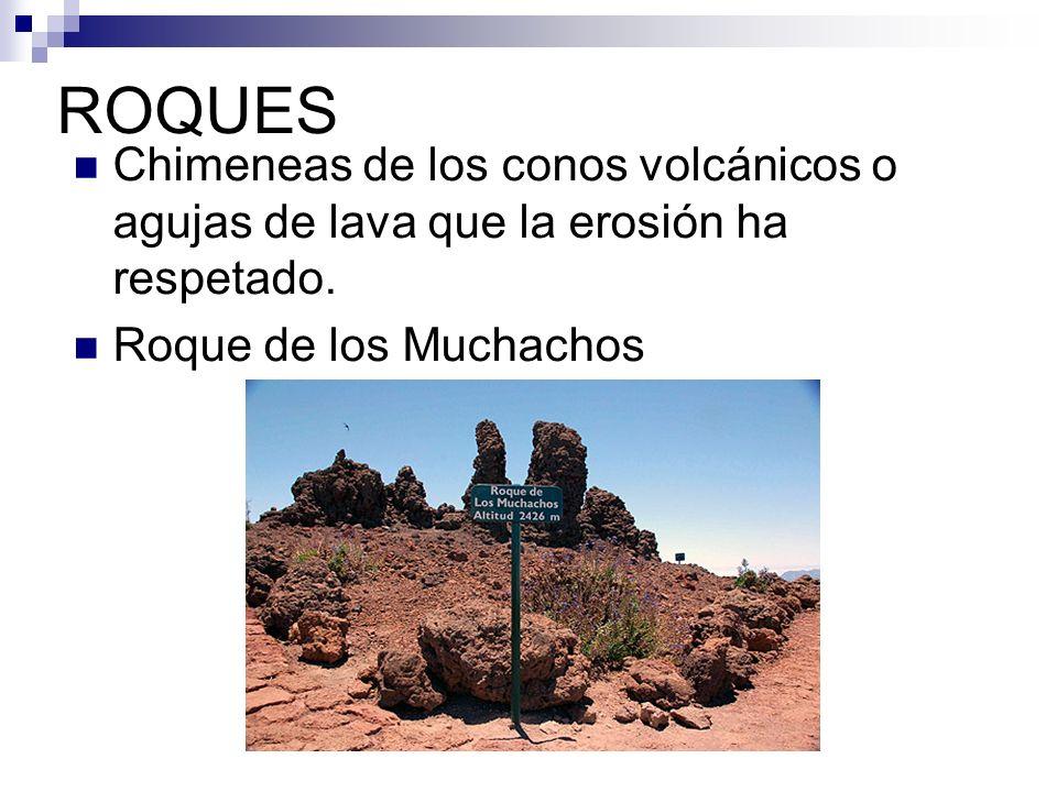 ROQUES Chimeneas de los conos volcánicos o agujas de lava que la erosión ha respetado. Roque de los Muchachos