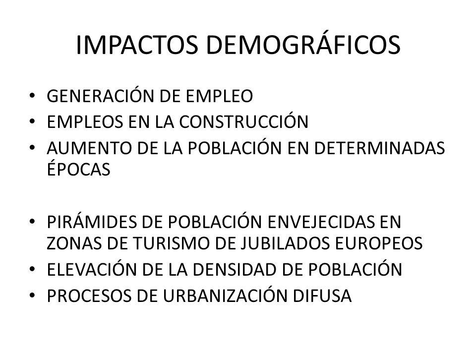 IMPACTOS DEMOGRÁFICOS GENERACIÓN DE EMPLEO EMPLEOS EN LA CONSTRUCCIÓN AUMENTO DE LA POBLACIÓN EN DETERMINADAS ÉPOCAS PIRÁMIDES DE POBLACIÓN ENVEJECIDA