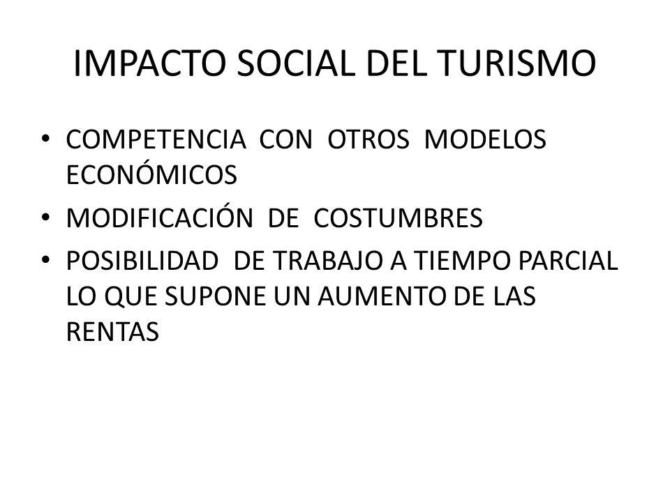 IMPACTO SOCIAL DEL TURISMO COMPETENCIA CON OTROS MODELOS ECONÓMICOS MODIFICACIÓN DE COSTUMBRES POSIBILIDAD DE TRABAJO A TIEMPO PARCIAL LO QUE SUPONE U