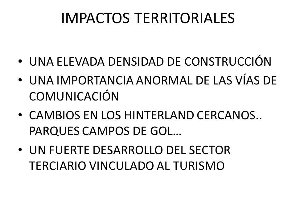 IMPACTOS TERRITORIALES UNA ELEVADA DENSIDAD DE CONSTRUCCIÓN UNA IMPORTANCIA ANORMAL DE LAS VÍAS DE COMUNICACIÓN CAMBIOS EN LOS HINTERLAND CERCANOS.. P