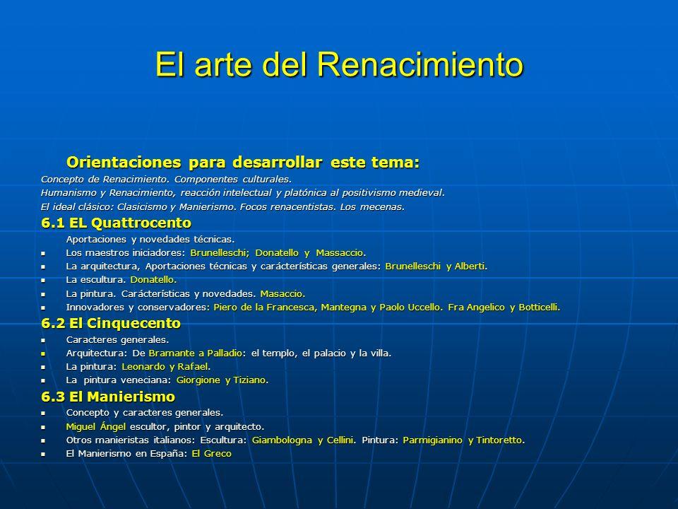 El arte del Renacimiento Orientaciones para desarrollar este tema: Concepto de Renacimiento.